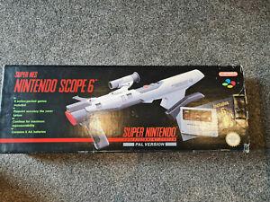 snes NINTENDO SCOPE 6 BOXED Gun, Game, Sensor, Sight + Manual Super NES PAL