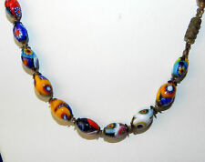 VTG MORETTI VENETIAN MURANO MILLEFIORI GLASS BEAD NECKLACE BARREL CLASP ITALY
