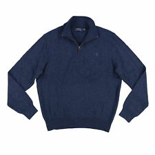 Polo Ralph Lauren Mens Knit Ribbed Trim Pullover Sweater Blue