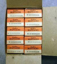 NIB Vintage Graffco Map Tacks 10 Boxes of 100 1000 Pcs Total M16 Maroon US Army