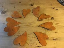 "Primitive Rusty Tin 4"" Hearts Wire Garland"