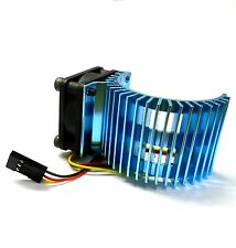 540 550 560 RC EP Electric Motor Heatsink with 6v Fan Light Blue 1/10 Scale Side