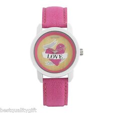 SPROUT PINK LOVE HEART CORN RESIN WHITE DIAL PINK STRAP CRYSTALS ACCENT ST/8001