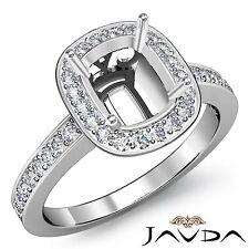 14k White Gold Cushion Cut Semi Mount 0.36Ct Diamond Engagement Halo Pave Ring