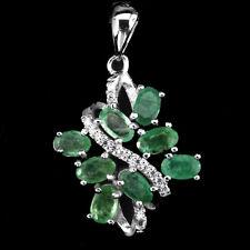 Natural GEM Transparent Green Emerald,W.Cz 925 Sterling Silver Pendant ChainFree