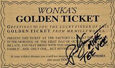 "OFFICIAL WEBSITE Paris Themmen WILLY WONKA's GOLDEN TICKET 7.25-4.5"" AUTOGRAPHED"