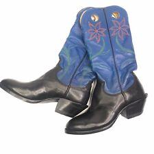 Vintage Paul Bond Tall Heel Cowboy Boots Blue Floral Women's Boots Size 10