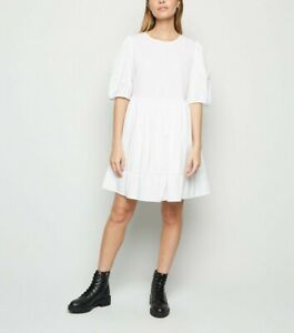 BNWT New Look White Poplin Puff Sleeve Smock Dress Size 8