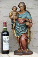 Antique flemish Wood carved polychrome madonna child bird figurine statue