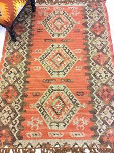 RUST RED Tribal Nomadic Caucasian Geometric Handmade 100% Wool Kilim Rugs Runner