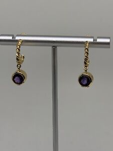 Tiffany & Co. 2 Ct Amethyst, Dangle Charm 18k Gold Twisted Cable Hoop Earrings