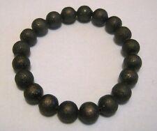 Lovely dark bronze tone metal beaded elasticated bracelet