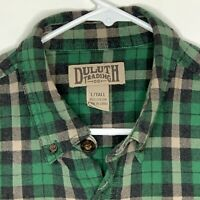 Duluth Trading Co Mens Flannel Shirt LS Green Blue Plaid Large Tall