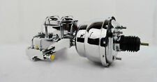 "7"" Dual Chrome Power Brake Booster W/ Dual Bowl Top Chrome Master Cylinder PV-2"