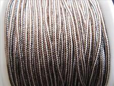 3 Meter Shamballa /  Macramé Band 2mm braun weiss 10557