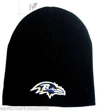 Baltimore Ravens NFL Knit Hat Cap Solid Black w/ Purple Logo Winter Snow Beanie