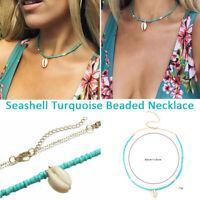 Boho Women Seashell Beach Pendant Turquoise Beaded Chain Choker Necklace-RO