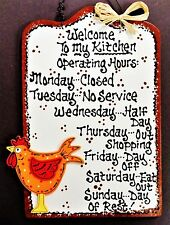 Rooster Sign Kitchen Operating Hours Wall Hanger Plaque Country Chicken Decor