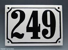 EMAILLE, EMAIL-HAUSNUMMER 249 in SCHWARZ/WEISS um 1960