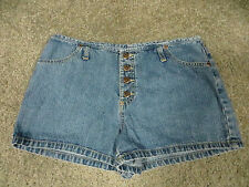 Xhilaration Faded Blue Button Up Denim Short Shorts, sz 13