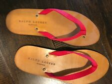 NEW Ralph Lauren Men's flip flops leather, made in Spain, shoe Size 10 sandal
