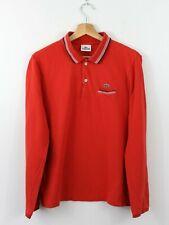 L82 Lacoste Polo Men Red Long Sleeve Cotton Shirt Size Slim Fit 5 L