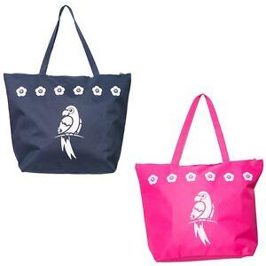 Beach Bag Womens Ladies Large Summer Shoulder Bags Zip Tote Canvas Parrot