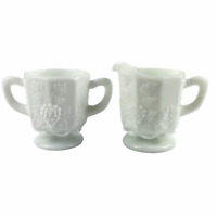 Westmoreland White Milk Glass Paneled Grape Open Sugar and Creamer Set