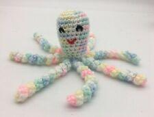 "Crochet Handmade Baby Octopus Toy Newborn Preemie Stuffed 7"" Multicolor Pastel"
