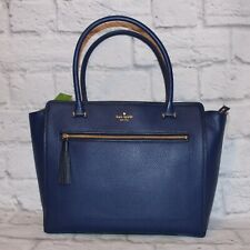 NWT Kate Spade Allyn Chester Blue Pebble Leather Satchel Handbag $399 ocnbl/ofsh