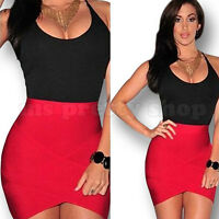 Red Black Bandage Bodycon Evening Party Cocktail Club Mini Dress Size 10 12 14