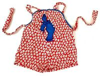 Vintage Infant Baby Outfit One Piece Overalls Red Floral Blue Clown Appliqué