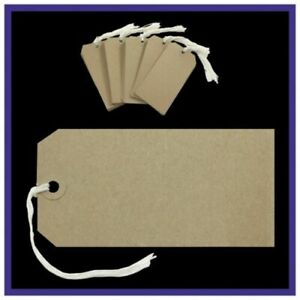 Brown Buff  Strung Tags Kraft Reinforced Luggage Tie On Labels Gift 120mm x 60mm