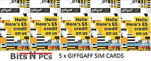 5 x GIFFGAFF SIM CARDS - INCLUDES STANDARD, MICRO & NANO SIM CARD