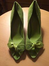 FERRAGAMO lime green suede open toe size 7.5 never worn outside, 2.5 inch heel