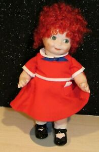 """Vintage 10"""" ORPHAN ANNIE Bisque Doll Glass Eyes Jointed Germany AOM REPRODUCTION"""