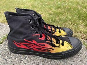 Converse all star Chuck Taylor Hot Rod Flames Size 9 mens Gamer Raver Hi Top Ex!