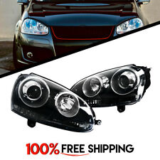 Projector Headlight Black Pair for VW MK5 Rabbit GTI Jetta fit years 06 to 09