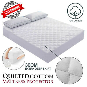 Extra Deep Quilted Mattress Bed Protector Fitted Sheet Cover Single Double King