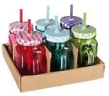 Trinkgläser mit Deckel und Strohhalm Glas Terrasse 6er Set 450 ml Balkon Gläser