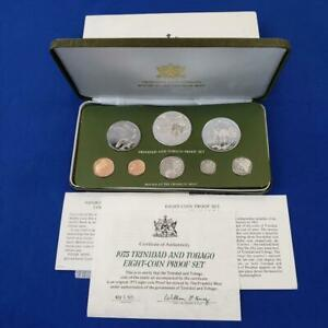 1975 Trinidad and Tobago 8 Coin Silver Pf Set by F.M. 1.92 ozt ASW coa/box 10604
