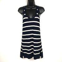 Vince XS womens tunic tank top white blue stripe knitted sleeveless cotton long