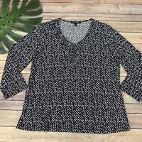 41 Hawthorn Stitch Fix V-Neck Blouse Top Size XL Black Blue Geometric Print