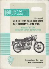 DUCATI 250 GT MONZA MACH 1 MKIII MOTOCROSS ORIG.1966 OWNERS INSTRUCTION HANDBOOK