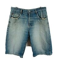 Ripcurl Mens Denim Shorts Size 34 Raw Wash Distressed Blue Button Fly Vintage