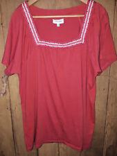 AUTOGRAPH Ladies T Shirt Cotton Blend Coral Pink Orange Square Neckline Size 18
