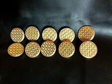 """Gold Metal Checkered Buttons approx 1"""" Lot of 10 FREE SHIPPING IN THE USA"""
