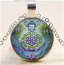 Buddhism Flower Of Life Cabochon Glass Tibet Silver Chain Pendant Necklace