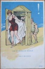 Bathing Beauty 1902 Postcard: Peeping Tom at Beach Changing Cabin - Color Litho