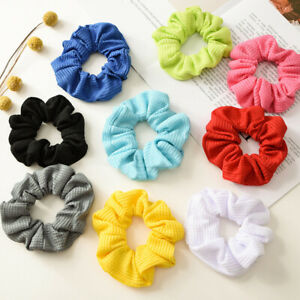 Solid Color Ribbed Scrunchies Elastic Hair Rope Ring Ponytail Holder Headwear